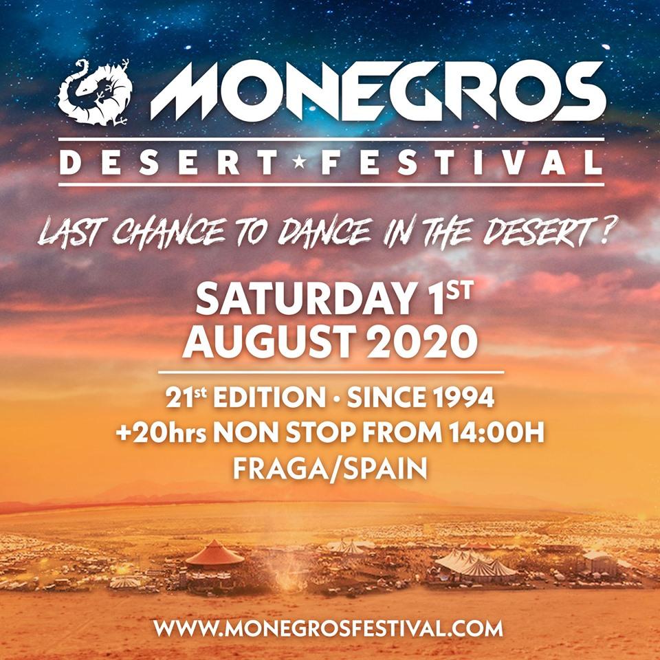 imagen que contiene la información sobre el 21 aniversario de Monegros Desert Festival.