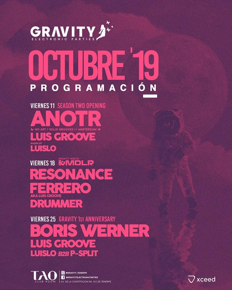 Gravity: tenerife electronic parties programación